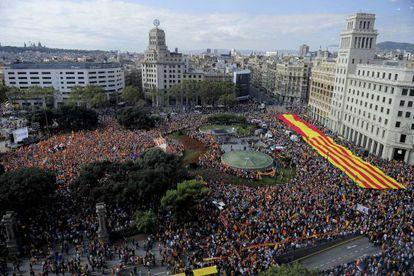 Manifestación en defensa de la unidad de España el pasado 12 de octubre en Barcelona.
