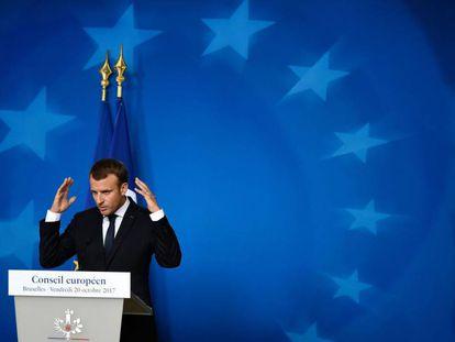 El presidente Macron en el Consejo Europeo de la semana pasada.