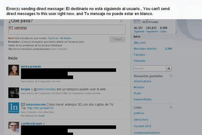 Aspecto de una página de Twitter afectada por un presunto error de código