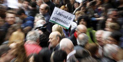 Concentración de periodistas en el Día de la Libertad de Prensa de 2012.