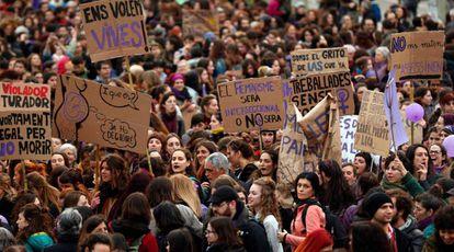 La manifestación del 8-M en Barcelona, el pasado marzo.
