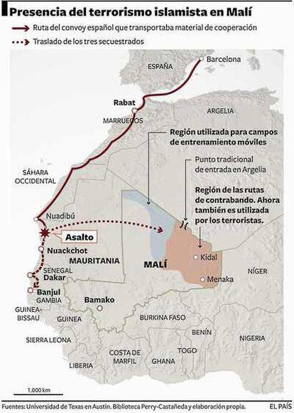 Al Qaeda en el Magreb ha reivindicado el secuestro en Mauritania de tres cooperantes que habrían sido trasladados al país vecino.