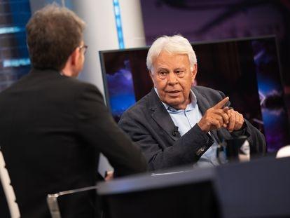 Pablo Motos entrevista a Felipe González, este miércoles en 'El Hormiguero'.