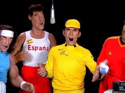 Captura de una parodia de Nadal, Gasol, Contador e Iker Casillas en Canal Plus Francia.