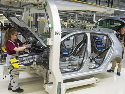 Imagen de una fábrica de Volkswagen en Zwickau, al este de Alemania, tomada en mayo de 2019.