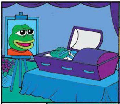 El funeral de la Rana Pepe en la última tira de su autor.
