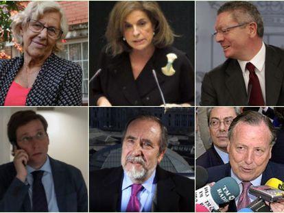 Manuela Carmena, Ana Botella y Alberto Ruiz Gallardón (arriba, de izquierda a derecha), José Luis Martínez-Almeida, Juan Barranco y José María Álvarez del Manzano (abajo): los seis alcaldes de Madrid.
