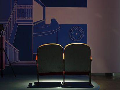 Una de las obras de la exposición Cine Bogart, imaginar un edificio.