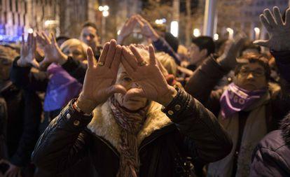 Concentración el pasado enero en Zaragoza tras el asesinato de la abogada Santamalia.