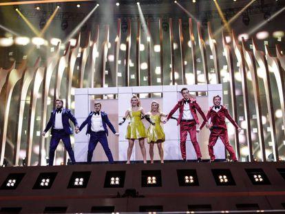 Los representantes de Moldavia, durante el primer ensayo de la segunda semifinal de Eurovisión.
