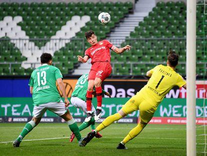 Havertz marca el primer gol del Bayer Leverkusen contra el Werder Bremen.