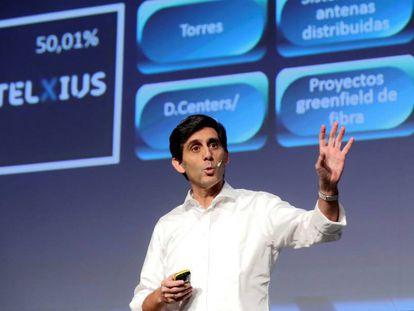 El presidente ejecutivo del Grupo Telefónica, José María Álvarez-Pallete, durante la rueda de prensa ofrecida este miércoles.