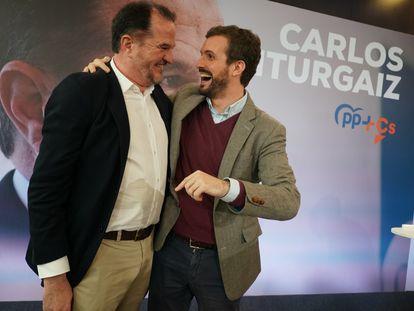 Pablo Casado en Santurtzi (Bizkaia) en un acto de la campaña electoral vasca en apoyo de Carlos Iturgaiz.