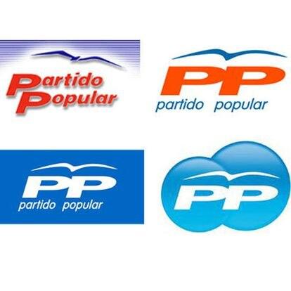 """Otros logotipos a lo largo de la historia del PP. El último fue presentado el pasado 14 de enero junto al lema de la precampaña """"Las ideas claras"""" y mostraba las siglas rodeadas por dos esferas."""