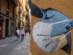 Grafiti con una máscara protectora en las calles de Barcelona. El número de afectados por el virus en Cataluña superan ya los 300.