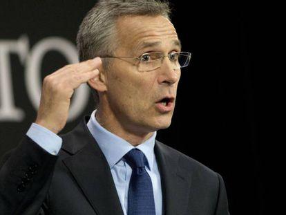 El secretario general de la OTAN, el noruego Jens Stoltenberg, durante una comparecencia pública.