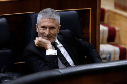 El ministro del Interior, Fernando Grande-Marlaska, durante el pleno del Congreso del pasado miércoles.