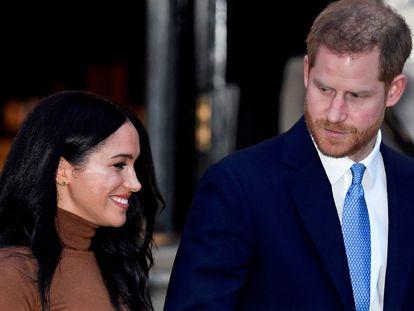 Enrique de Inglaterra y Meghan Markle, el 7 de enero de 2020 en Londres.