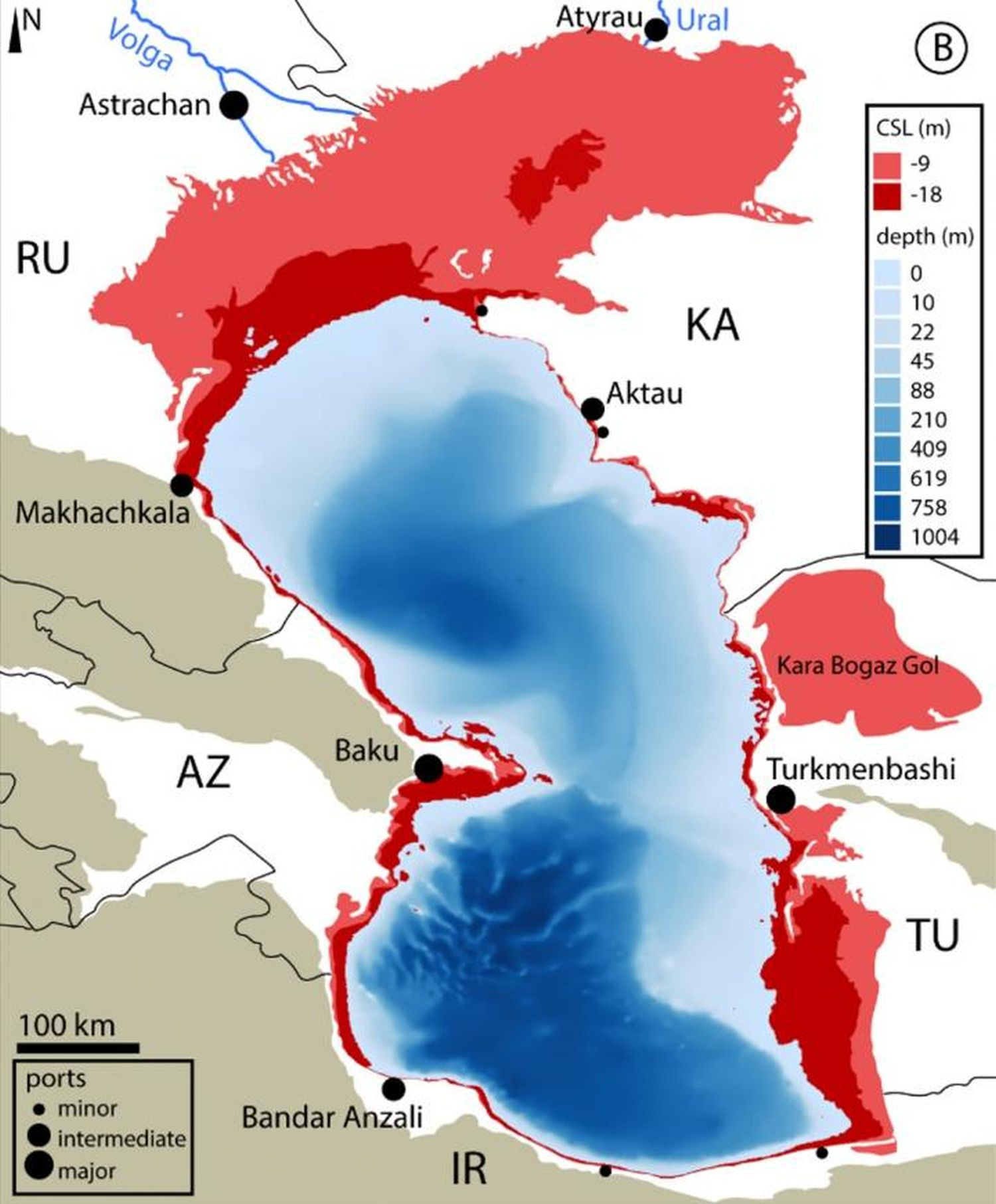 Las zonas más afectadas son las del norte y el este (en rojo), donde el mar tiene poca profundidad. En las escalas, expresadas en metros, descenso del nivel del mar en el Caspio de nueve metros en un escenario de emisiones [de CO₂] intermedio y de 18 metros en uno de altas emisiones para finales de siglo. En azul, escalas de profundidades. Abajo, escala y representación de puertos menores (minor), intermedios (intermediate) y mayores (major)