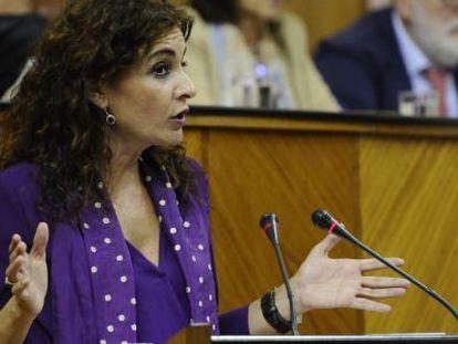 Montero este miércoles en el Parlamento de Andalucía.