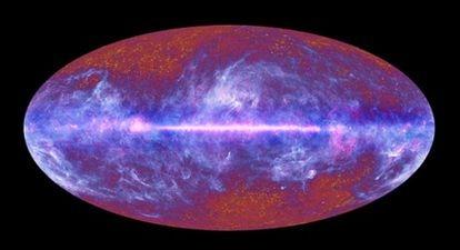 Imagen de la radiación de fondo de microondas captada por la sonda espacial 'Planck'