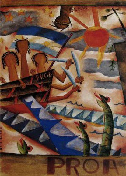 Cuadro de 1925 del pintor vanguardista argentino Xul Solar para celebrar la aventura literaria de 'Proa'.