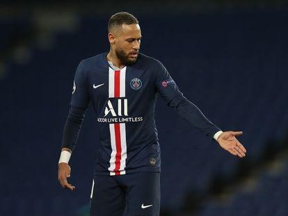 Neymar, durante el partido de la Champions League contra el Borussia Dortmund.