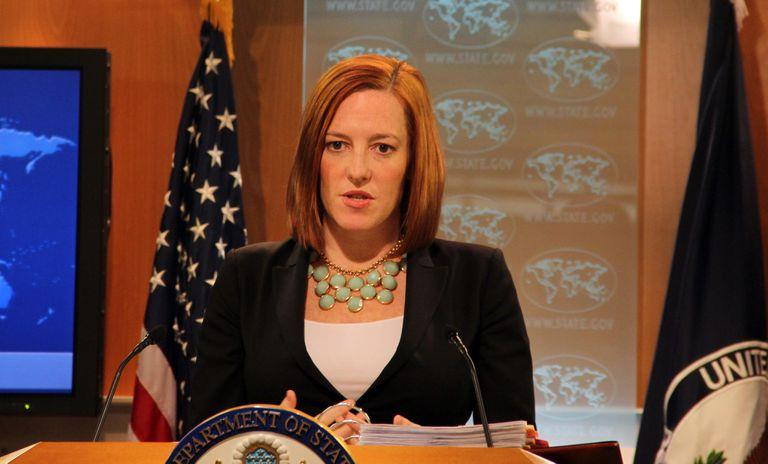 Jen Psaki cuando era portavoz del Departamento de Estado en 2015.