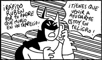 El Batman de trazos apresurados de Ortiz está en un buen aprieto y no tiene más remedio que pedir ayuda a su fiel Robin.