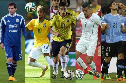 Messi, Neymar, James, Alexis y Cavani, estrellas de la Copa América.