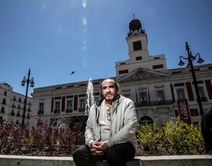 Ricardo Benítez, activista del 15-M, el pasado viernes en Sol.