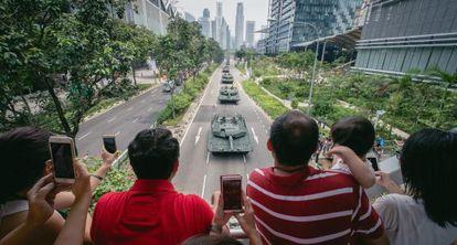 Desfile militar el domingo en Singapur.