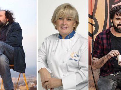 De izquierda a derecha, Mikel Urmeneta (dibujante), Pilar Idoate (cocinera) y Gorka Urbizu (músico).