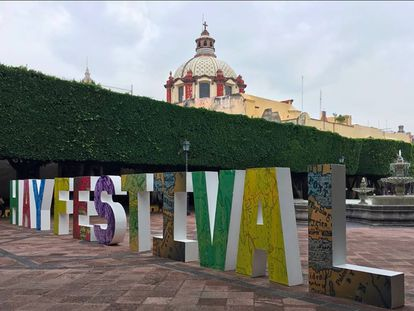 Letrero del Hay Festival en el Estado de Querétaro.