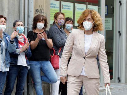 Irune Costumero llega al Palacio de Justicia para la tercera jornada del juicio.