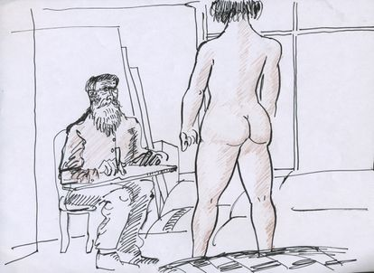 Dibujo de Carrière realizado durante la escritura de guion de 'El artista y la modelo'.