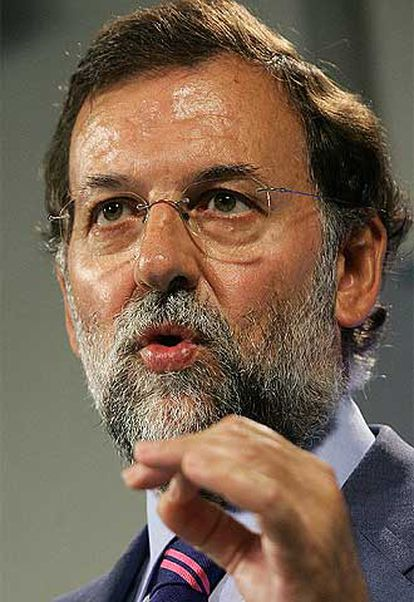 Mariano Rajoy, durante la comparecencia de ayer ante los periodistas.