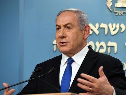 El primer ministro israelí, Benjamín Netayahu, en un comparecencia sobre el coronavirus en Jerusalén. Haim Zach / GPO