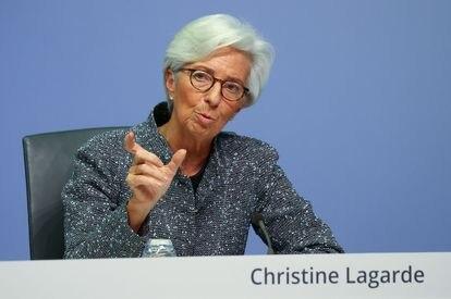 La presidenta del BCE, Christine Lagarde, durante una rueda de prensa celebrada el año pasado en Fráncfort.