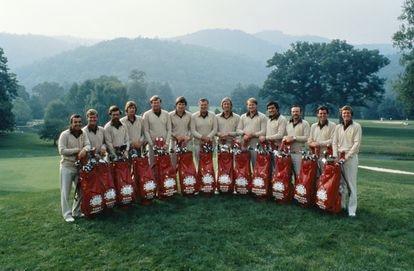 El equipo europeo en la Ryder de 1979. El tercero por la derecha es Antonio Garrido. El cuarto, Seve Ballesteros.