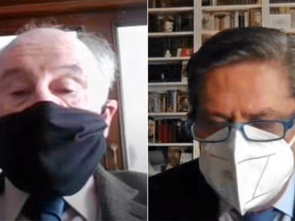 Rodrigo Rato y Federico Trillo, durante su declaración por videoconferencia este jueves en el juicio de la caja b.