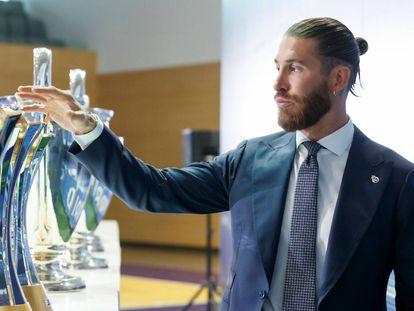 Sergio Ramos en su despedida del Real Madrid, este jueves.