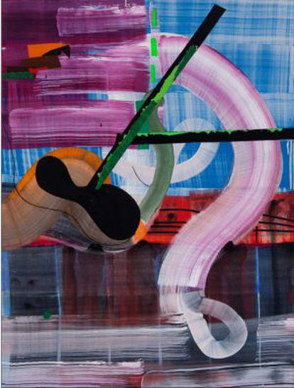 Una de las obras de Juan Uslé que integran la muestra en la galería Soledad Lorenzo.