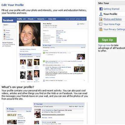 Página de la red social Facebook.