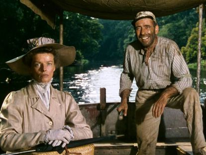 Katharine Hepburn y Humphrey Bogart en 'La reina de África'.