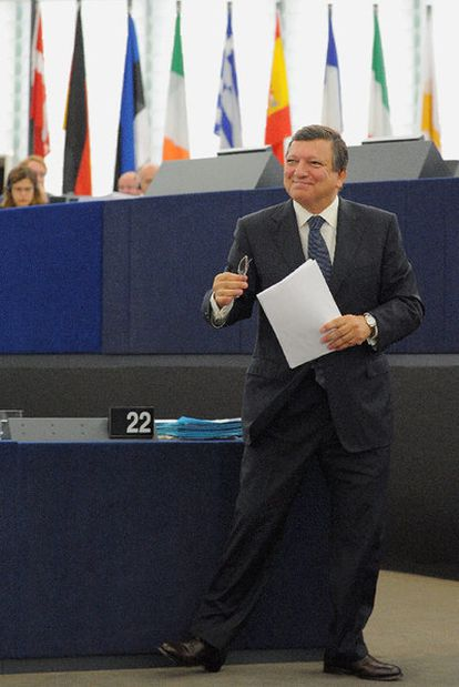 José Manuel Durão Barroso, en la Eurocámara, durante su discurso sobre el estado de la Unión Europea.
