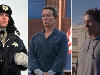 La actriz Frances McDormand en las tres películas que le han valido un Oscar: 'Fargo' (1996), 'Tres anuncios a las afueras' (2017) y 'Nomaland' (2021).