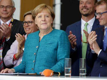 La canciller Angela Merkel durante un acto electoral este jueves en Annaberg-Buchholz, Alemania.