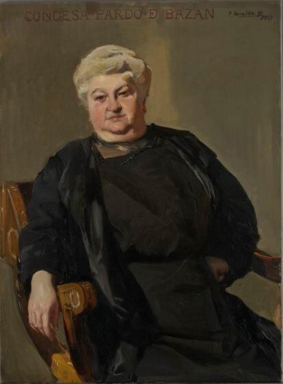 Retrato de Emilia Pardo Bazán pintado por Joaquín Sorolla en 1913. HISPANIC SOCIETY OF AMERICA