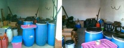 Dos imágenes del garaje donde ETA guardaba el material explosivo en interior de unos bidondes.